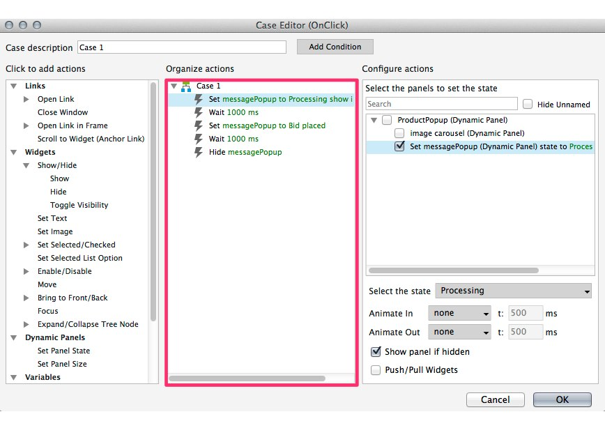 Case Editor showing actions added